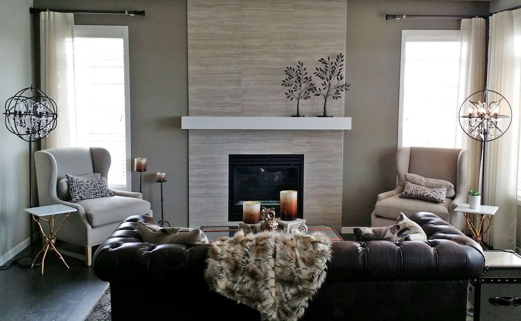 Gonzalez painting painted Family room with Fireplace